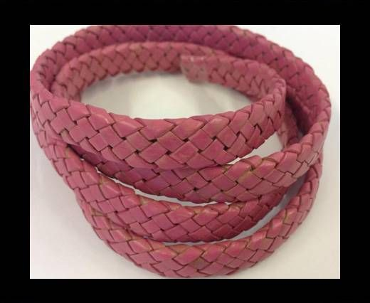 Oval Braided Leather Cord - SE-PB-Pink