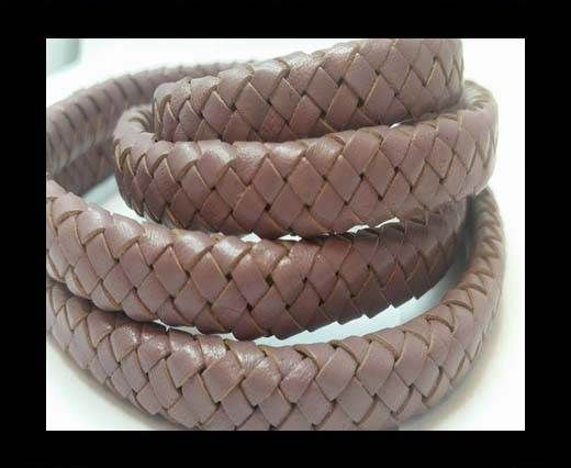 Oval Braided Leather Cord - SE Taupe