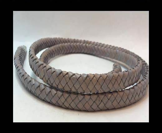 Oval Braided Leather Cord - SE.PB.Light Grey