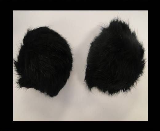 Rabbit Fur Pom Pom-Black-8cms