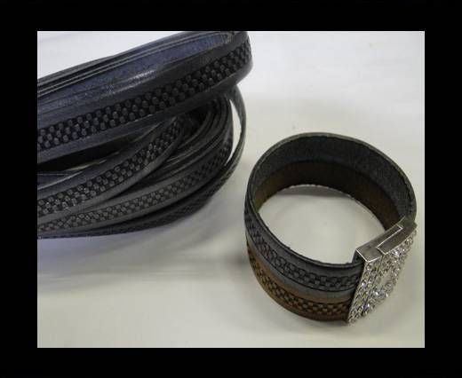 Design Embossed Leather Cord - 10mm - Bricks style-Grey