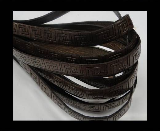 Design Embossed Leather Cord - 10mm - Papyrus style-Dark Brown