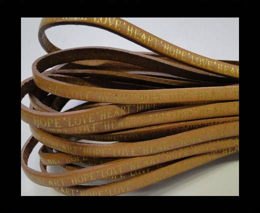 Real Flat Leather-5MM-Hope Love Heart style-Natural Brown-Gold