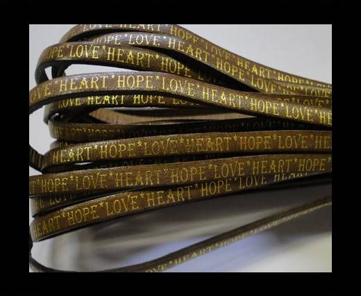 Real Flat Leather-5MM-Hope Love Heart style-Taupe-Gold