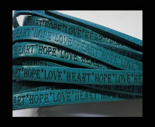 Real Flat Leather-5MM-Hope Love Heart style-Turquoise-Natural