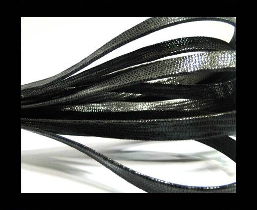 Real Flat Leather - 10mm - Lizard Black