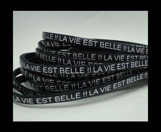 Real Flat Leather-LA VIE EST BELLE-Silver-Blue