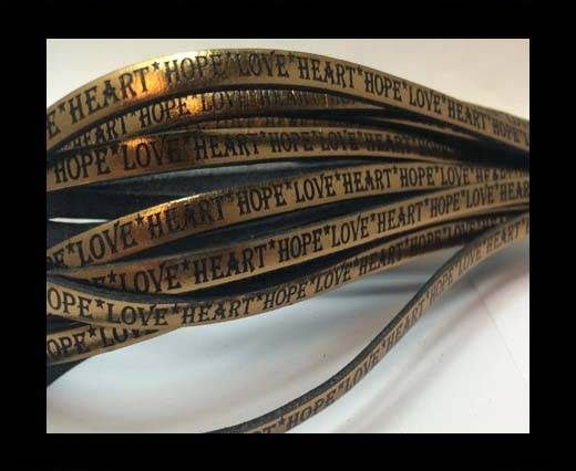 Real Flat Leather-5MM-Hope Love Heart style-Metallic Bronze