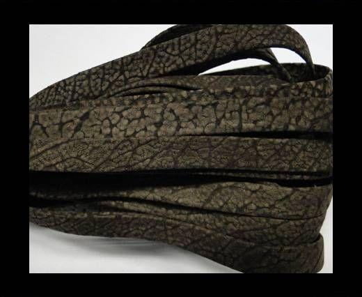 Real napa 10 mm Flat - Snake style Dark brown