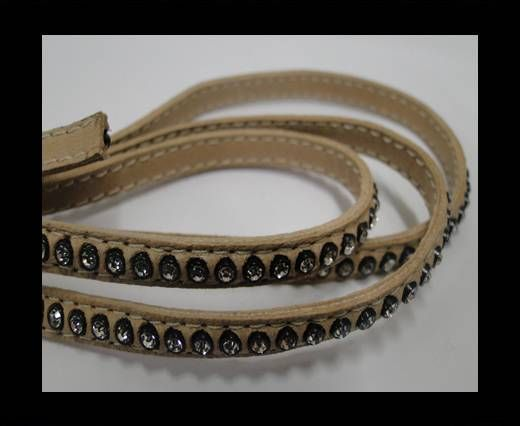 Real Nappa Flat Leather with swarovski crystals - 6mm - camel