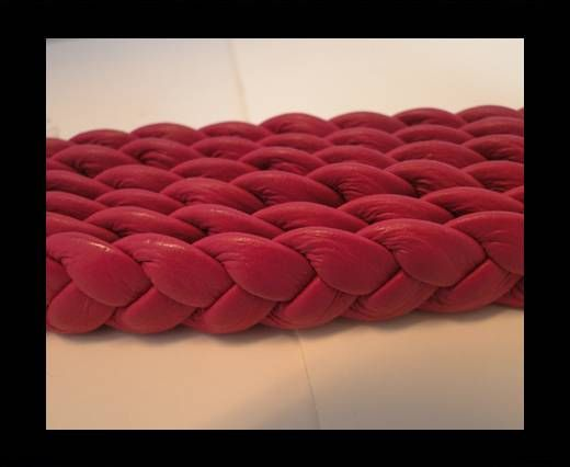 Real Nappa Leather -Flat-Braided-Fuchsia -10mm