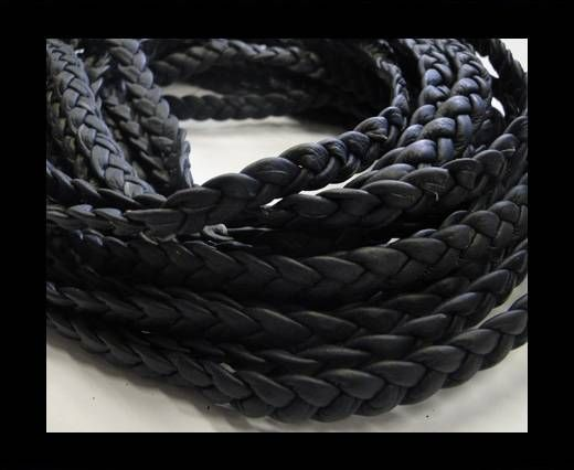 Real Nappa Leather -Flat-Braided-Dark blue-10mm