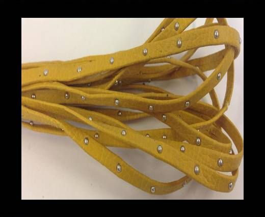 Real Nappa Leather with studs - 5mm - Pastel Yellow