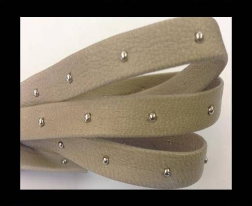Real Nappa Leather with studs-10mm-beige