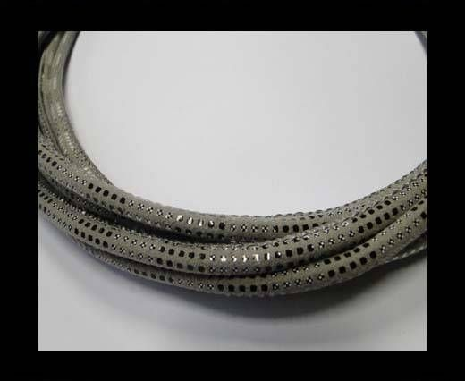Real Nappa Leather Cords Round-Snake Skin version 2 grey-6mm