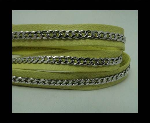 Real Nappa Leather Chain Stitched-10mm-Single-Yellow