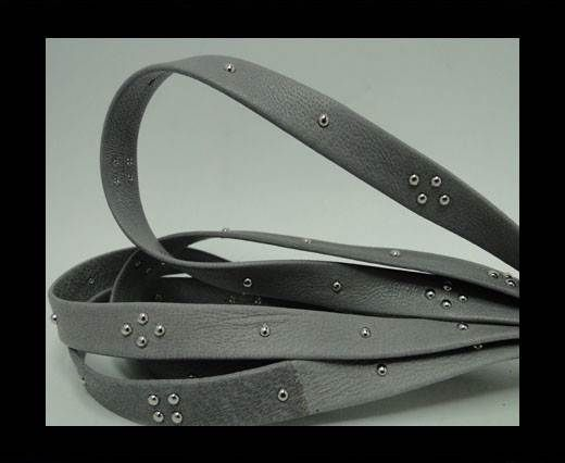 Real Nappa Leather with square studs - 10mm - Grey