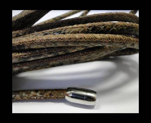 Real Nappa Round-Snake Skin Burnt -6mm
