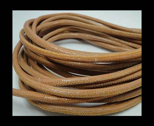 Real Round Nappa Leather cords-Lizard Prints-Orange Lizard- 4mm