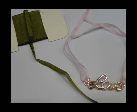Real Silk Ribbons -A 127-Army Green - 4mm