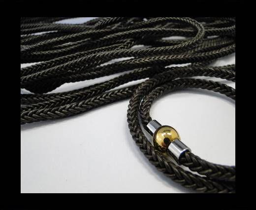 Round Braided Leather Cord-Dark Brown-4mm