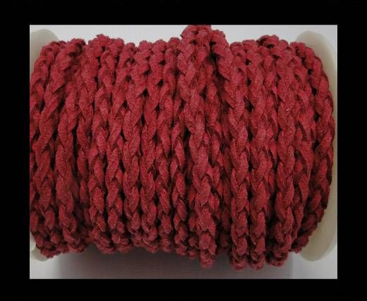 Round Braided Suede Cord - 4mm - Fuchsia