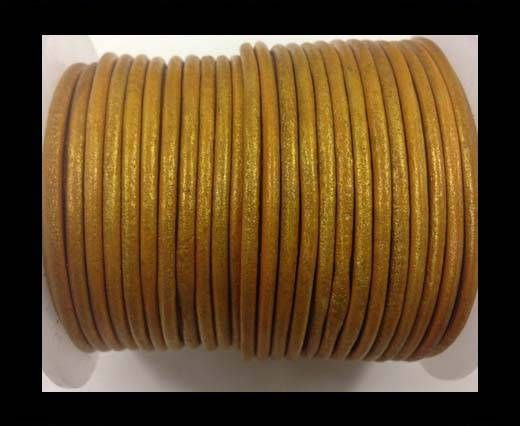 Round leather cord-3mm-metallic gold