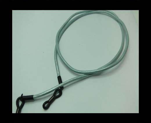 Round Leather Glass Hangers - 3mm -METALLIC BLUE