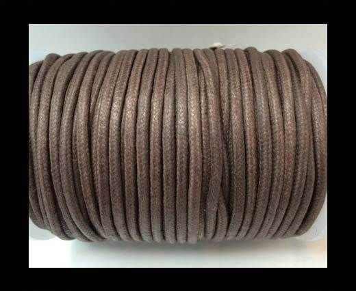 Round Wax Cotton Cords - 3mm  - Coffee Brown