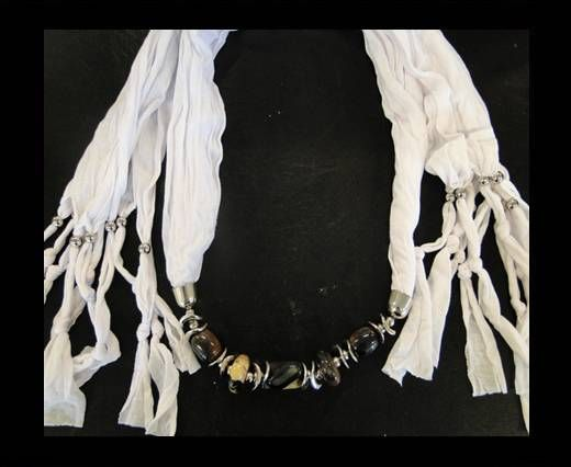 Scarf With Beads Style12-White