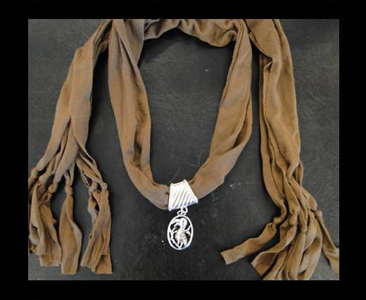 Scarf With Beads Style13-Brown