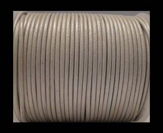 Round Leather Cord SE/R/Matallic Silver - 3mm