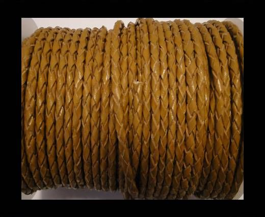 Round Braided Leather Cord SE/B/2008-Saddle Brown-6mm