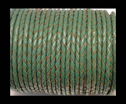Buy Round Braided Leather Cord SE/B/2015-Forest Green-6mm at wholesale price
