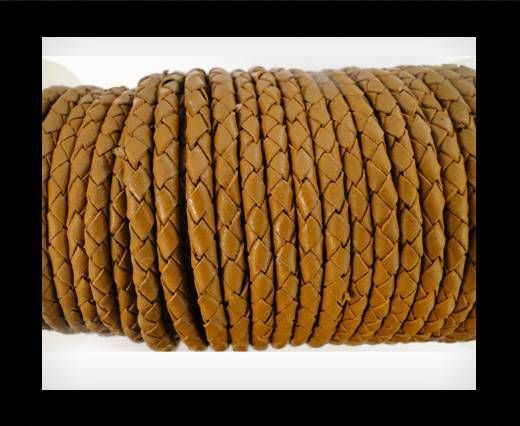 Round Braided Leather Cord SE/B/2018-Milk Chocolade-6mm