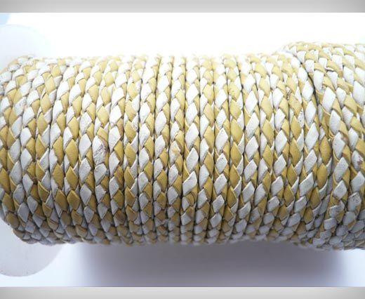 Round Braided Leather Cord SE/B/28-Yellow-White - 3mm