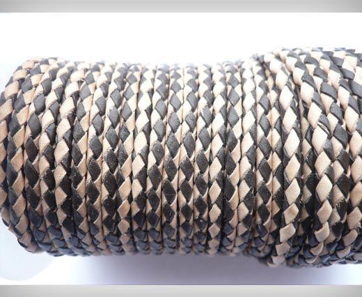 Round Braided Leather Cord SE/B/30-Dark Brown-Natural - 4mm