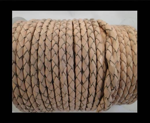 Round Braided Leather Cord SE/B/2000-Vintage Beige - 4mm
