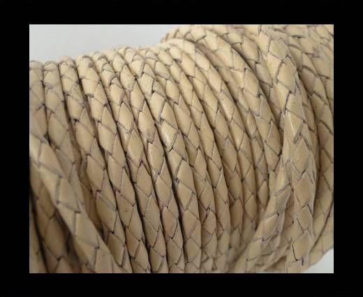 Round Braided Leather Cord SE/B/727-Beige-8mm