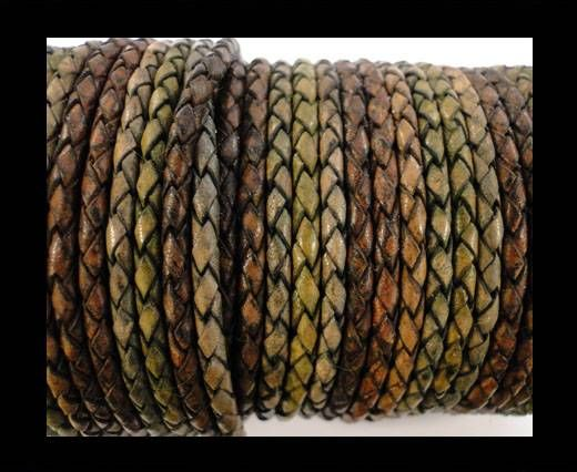 Round Braided Leather Cord SE/DM/01-Vintage Night Shades - 5mm