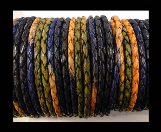 Round Braided Leather Cord SE/DM/03-Night Shades - 3mm