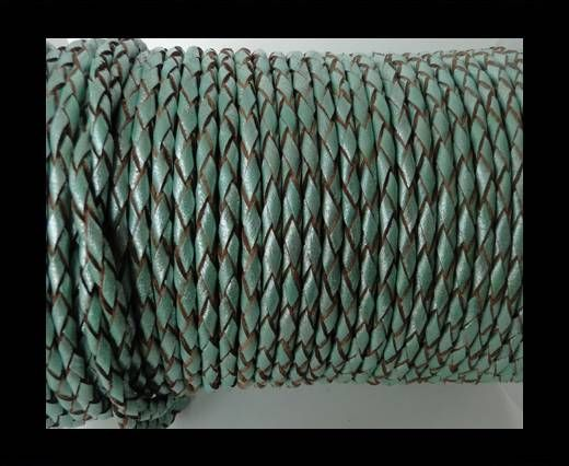Round Braided Leather Cord SE/M/02-Metallic Mint-4mm
