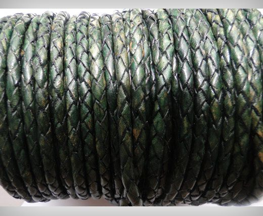 Round Braided Leather Cord SE/PB/19-Vintage Bottle Green - 4mm