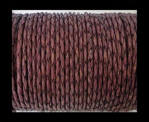 Round Braided Leather Cord SE/PB/21-Vintage Maroon - 3mm