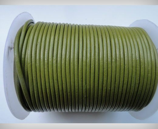 Round Braided Leather Cord SE/R/22-Olive Green - 8mm