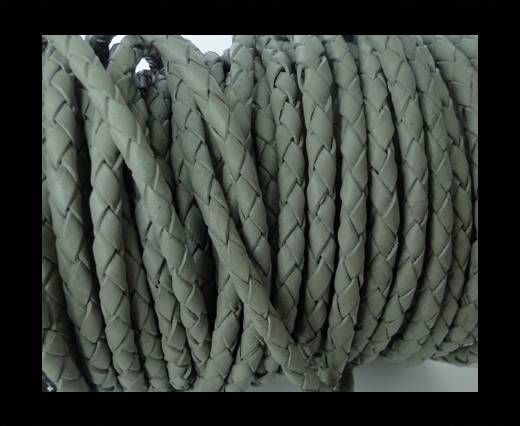Round Braided Leather Cord SE/R/28-Military Green-4mm