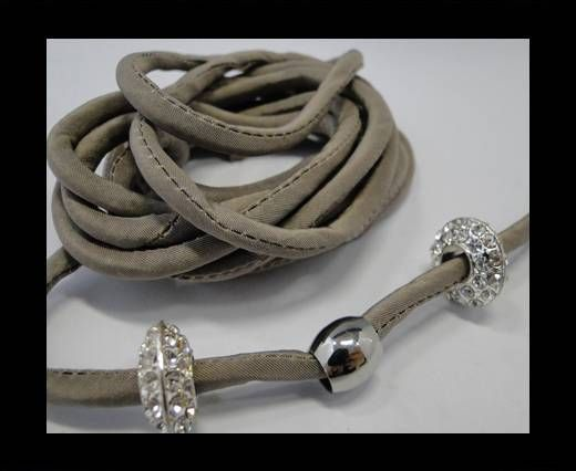 Real silk cords with inserts - 4 mm - Taupe