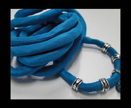 Real silk cords with inserts - 8 mm - Turquise