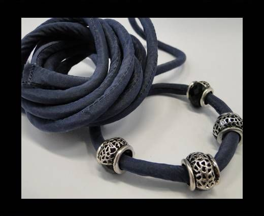 Real silk cords with inserts - 8 mm - Navy Blue