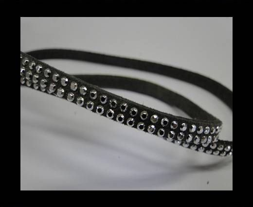 Suede Cord with studs-5mm-Silver-Dark Grey